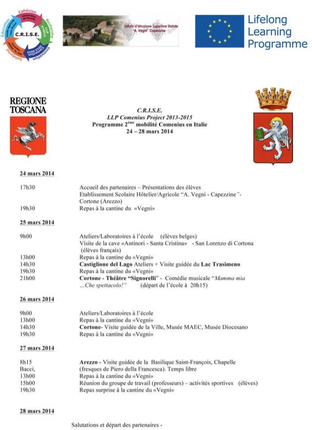Programme de la 2eme moblité en Italie