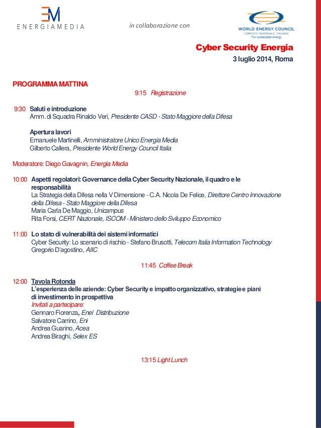 PROGRAMMA MATTINA 9:15 Registrazione 9:30 Salutie introduzione Amm.di Squadra Rinaldo Veri, Presidente CASD - Stato Maggio...