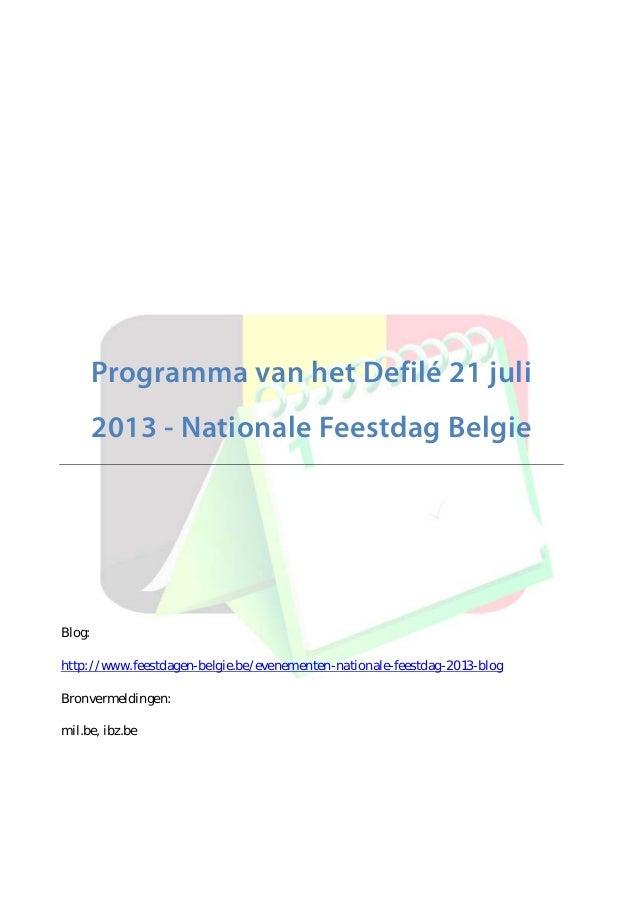Programma Defilé Nationale Feestdag Belgie 2013