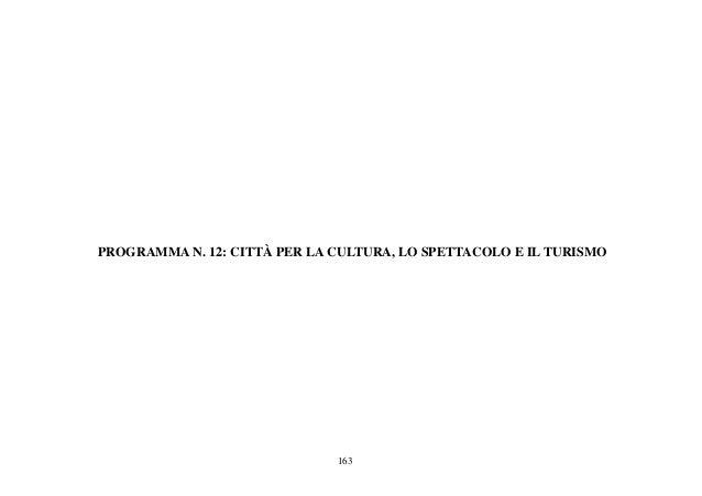 163 PROGRAMMA N. 12: CITTÀ PER LA CULTURA, LO SPETTACOLO E IL TURISMO
