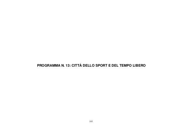 SAP  2012  - Programma 13  - CITTÀ DELLO SPORT E DEL TEMPO LIBERO