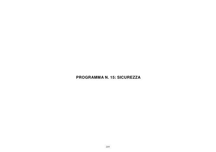 PROGRAMMA N. 15: SICUREZZA            249