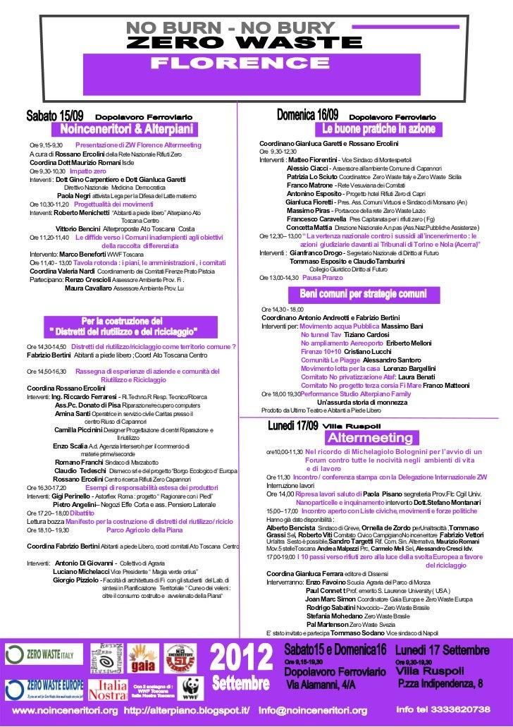 Ore 9,15-9,30       Presentazione di ZW Florence Altermeeting                              Coordinano Gianluca Garetti e R...