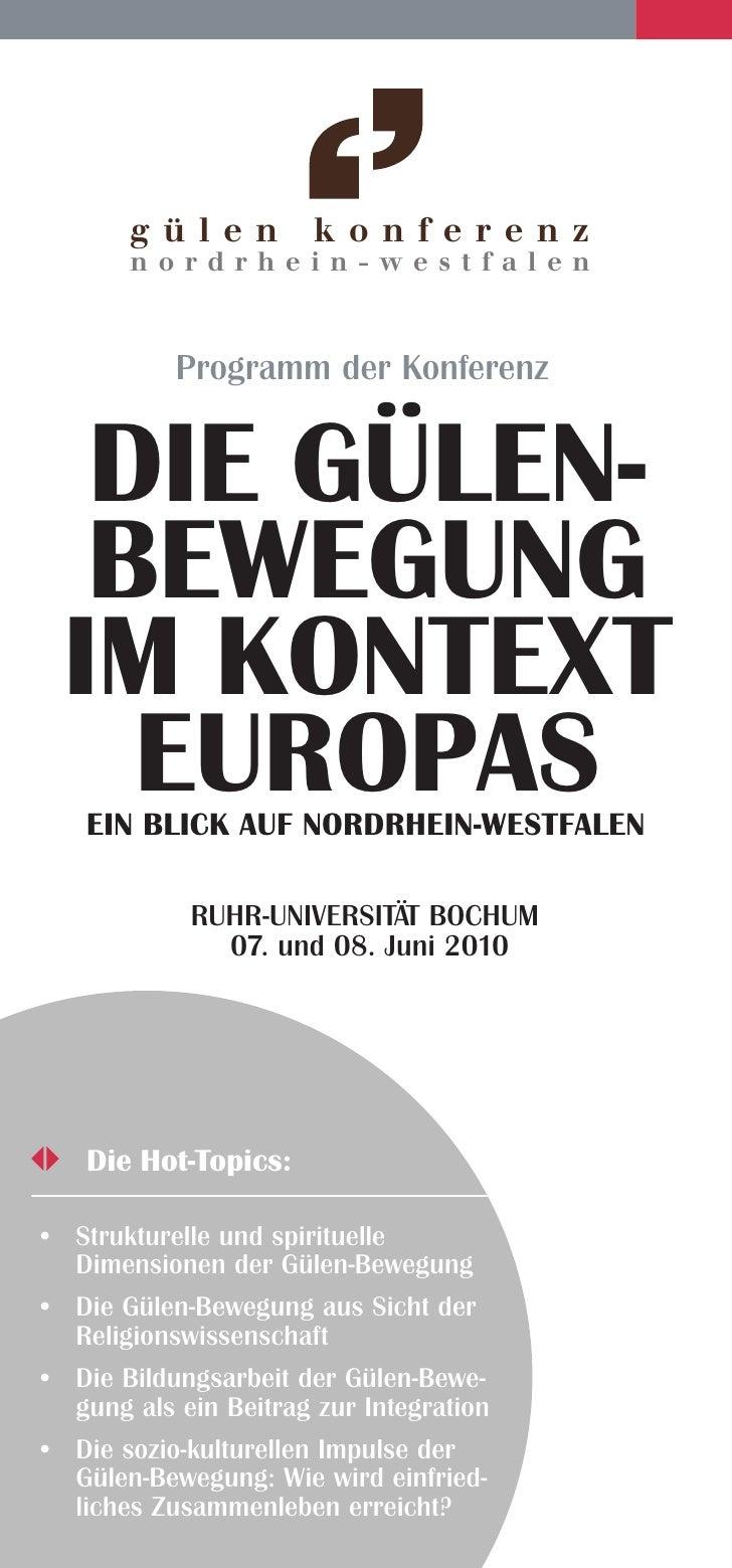 gü l e n        konferenz        n ordrhein-westfalen               Programm der Konferenz      Die Gülen-    BeweGunG   i...