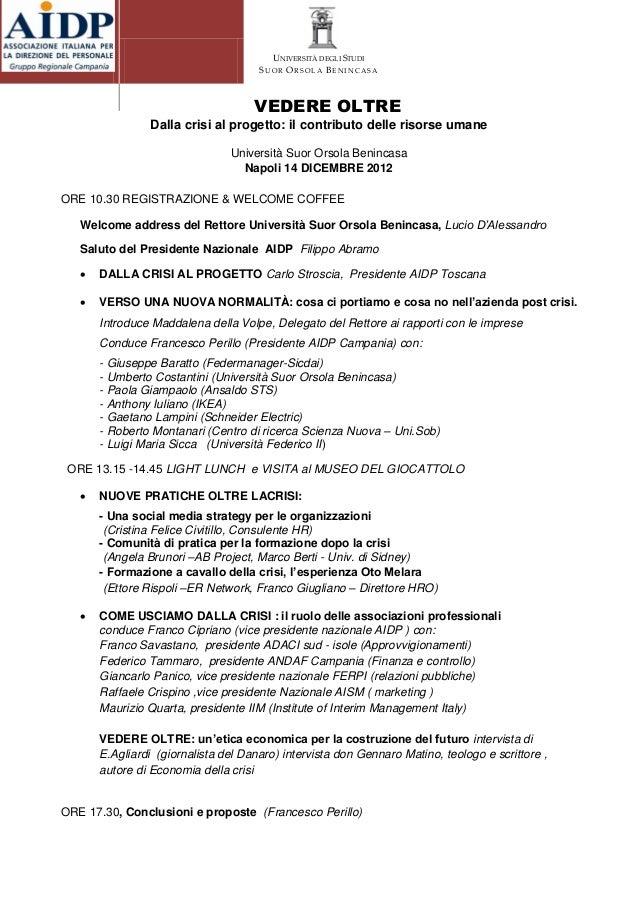Programma convegno AIDP: VEDERE OLTRE