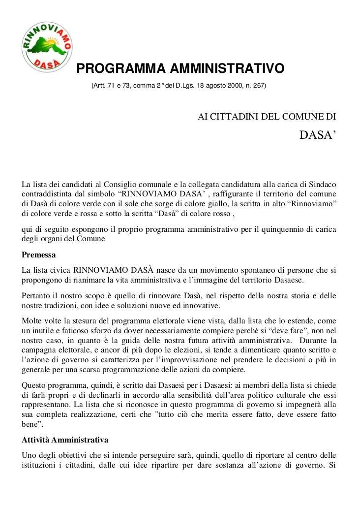PROGRAMMA AMMINISTRATIVO                     (Artt. 71 e 73, comma 2° del D.Lgs. 18 agosto 2000, n. 267)                  ...