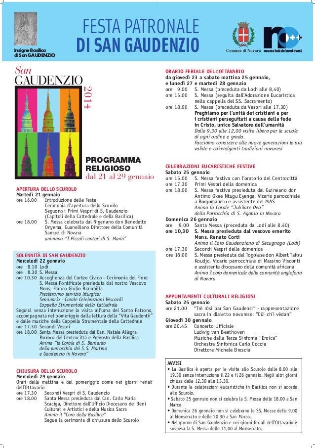 Insigne Basilica di San GAUDENZIO  FESTA PATRONALE DI SAN GAUDENZIO  San  2014  GAUDENZIO  PROGRAMMA RELIGIOSO dal 21 al 2...