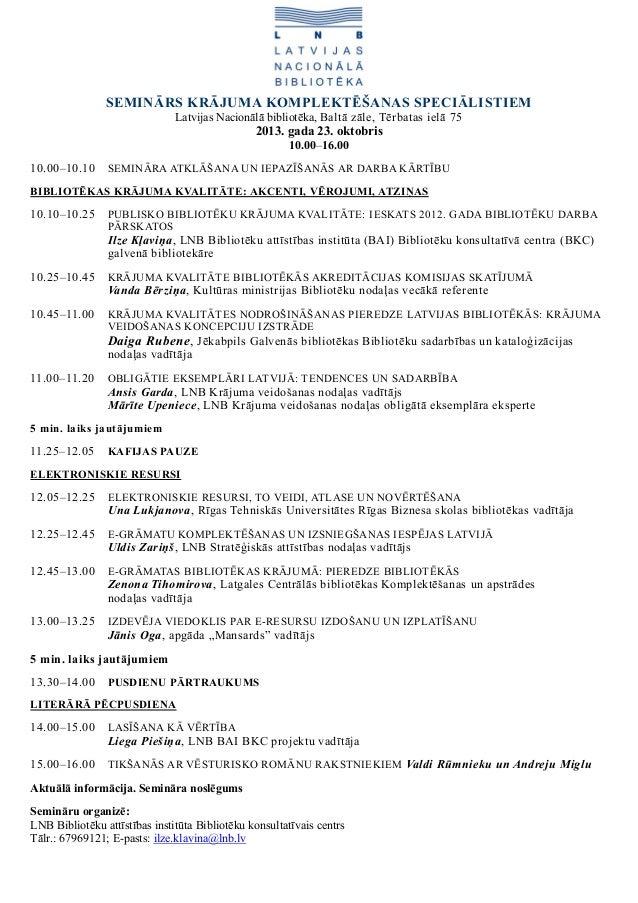 Seminārs bibliotēku krājuma komplektēšanas speciālistiem (23.10.2013.). Programma