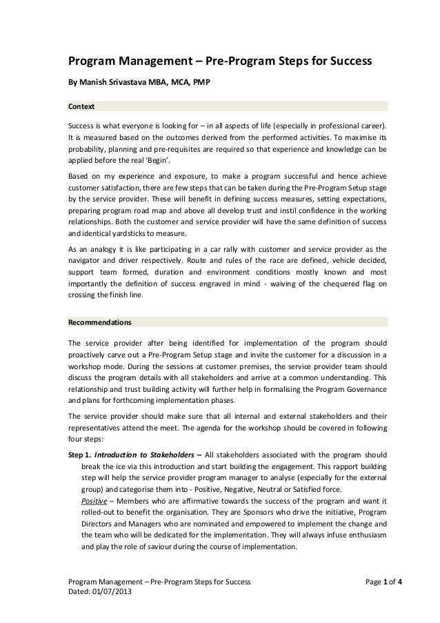 Program Management - Steps for Success and Customer Satisfaction