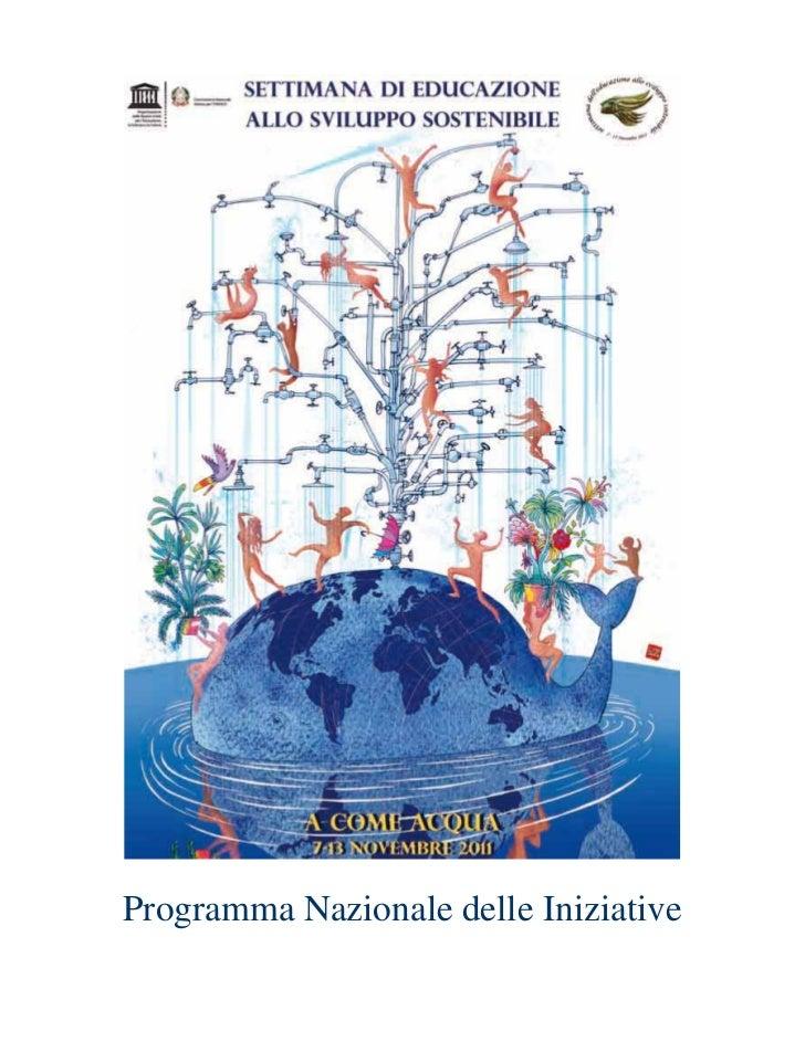 Programma Nazionale delle Iniziative Settimana Unesco ESS 2011