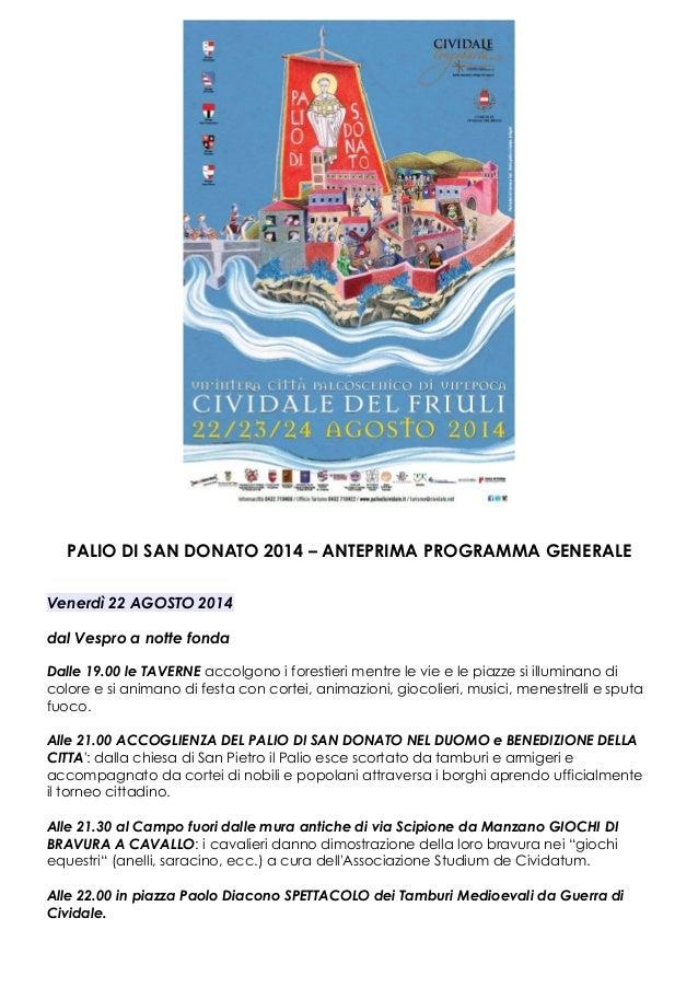 Anteprima del programma generale - Palio San Donato 2014
