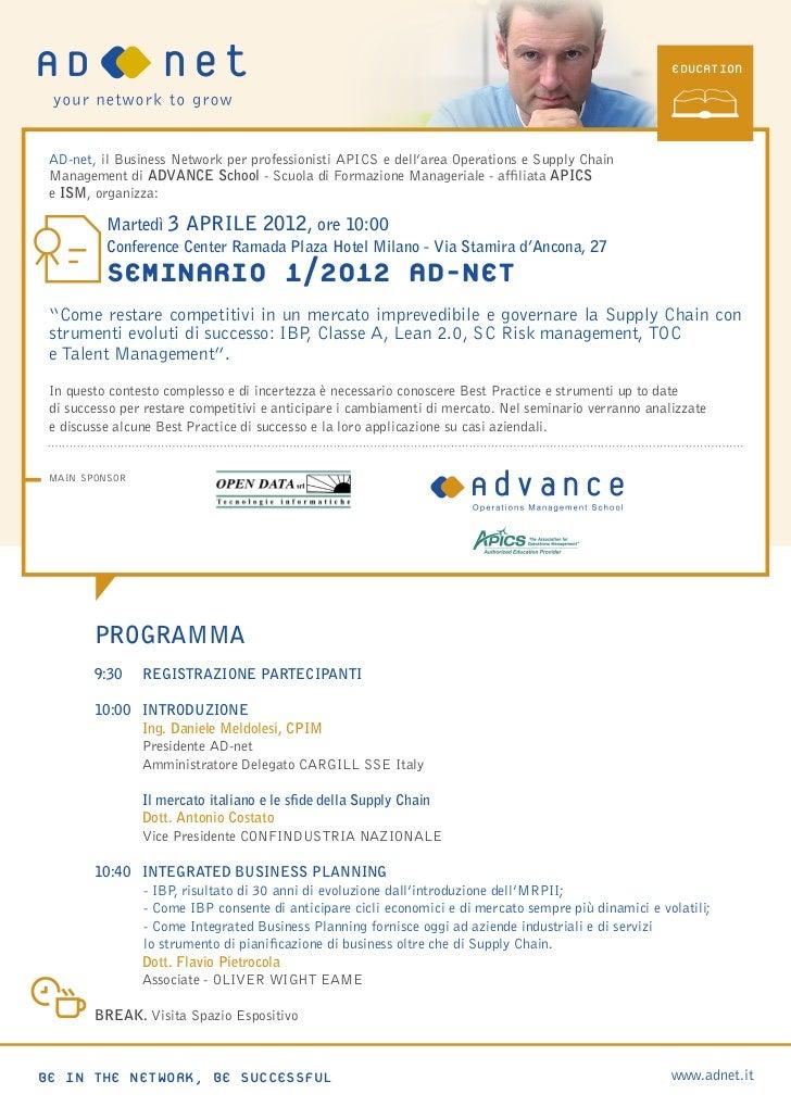 EDUCATIOn AD-net, il Business Network per professionisti APICS e dell'area Operations e Supply Chain   Management di ADVAN...