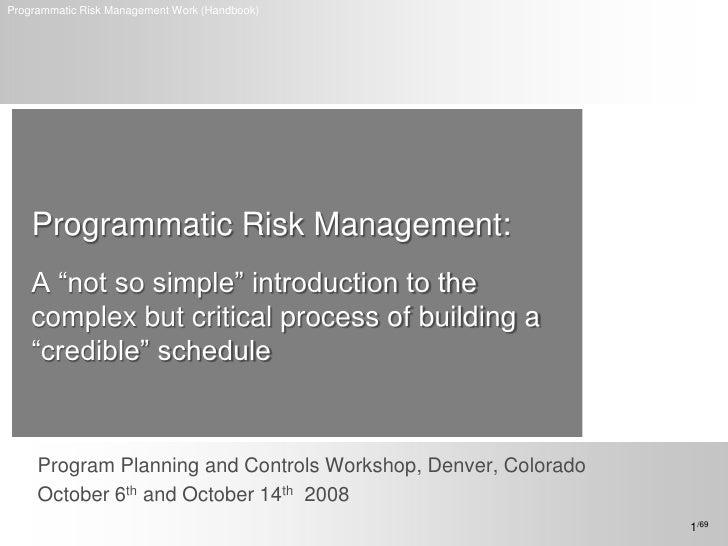 Programmatic risk management workshop (handbook)