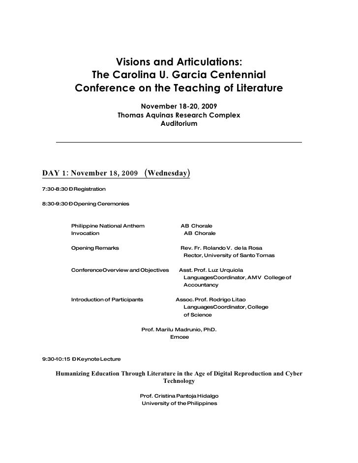 Visions and Articulations:               The Carolina U. Garcia Centennial             Conference on the Teaching of Liter...