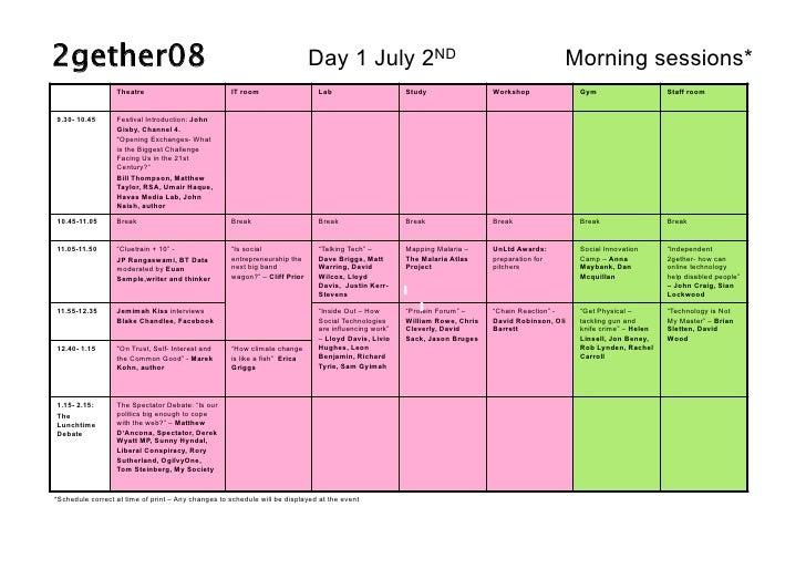 2gether08 schedule