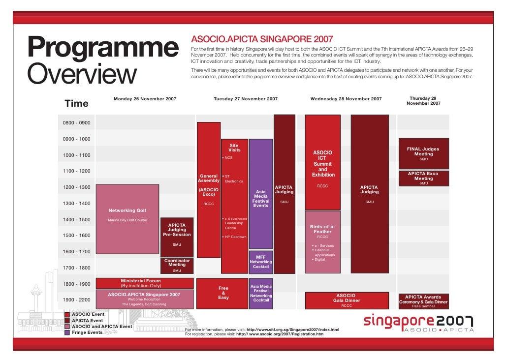 Programme                                                     ASOCIO.APICTA SINGAPORE 2007                                ...