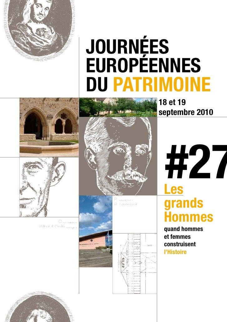 Programme des Journées du Patrimoine 2010 - Sarthe