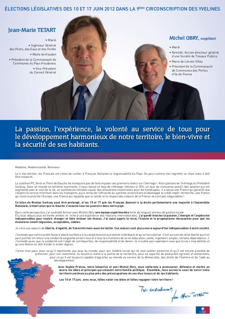 ÉLECTIONS LÉGISLATIVES DES 10 ET 17 JUIN 2012 DANS LA 9ÈME CIRCONSCRIPTION DES YVELINES Jean-Marie TETART                 ...