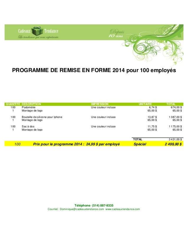 Programme remise forme 2014 for Programme de remise en forme