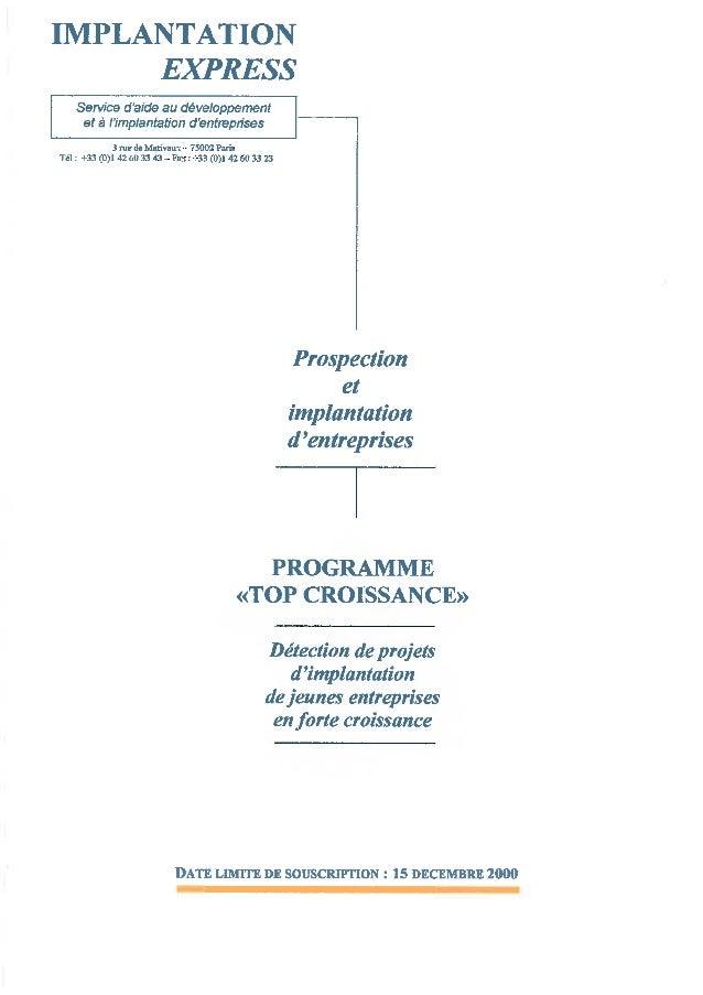 Programme 2001 Top Croissance