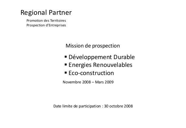 Regional Partner Promotion des Territoires Prospection d'Entreprises  Mission de prospection   Développement Durable  En...