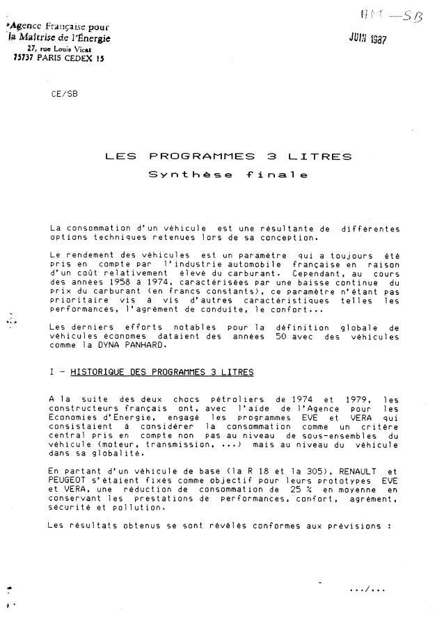 """Programme"""" Véhicule 3 litres"""""""