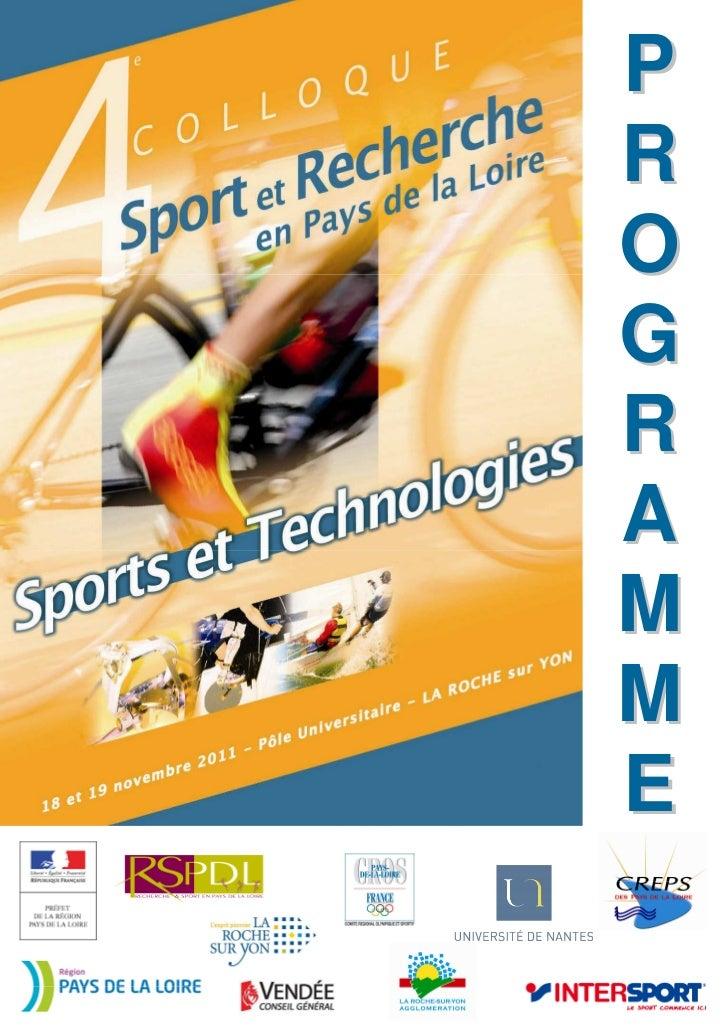 Sport et recherche en Pays de la Loire - Programme détaillé