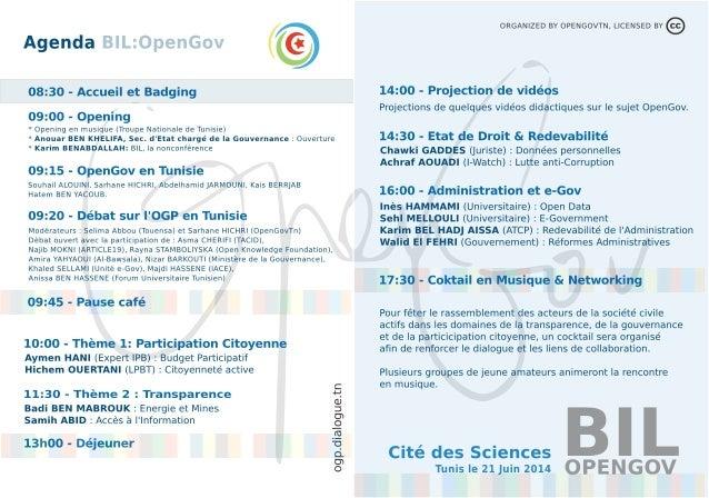 Programme BIL:OpenGov Tunisie (21 juin 2014)