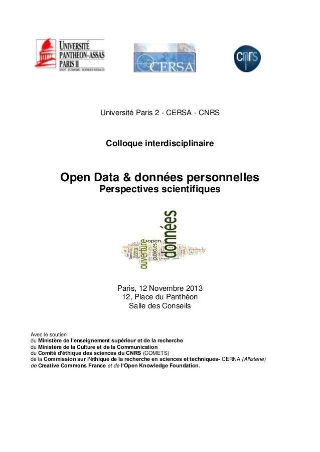 Programme colloque Open Data & données personnelles Perspectives scientifiques