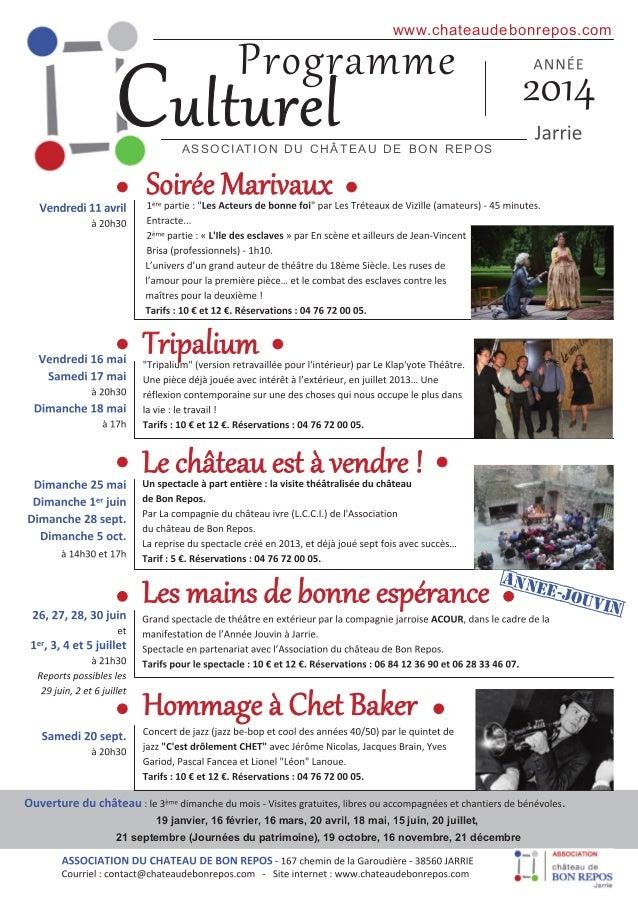 C  www. chateaudebonrepos. com  AS S O C I AT I O N D U C H ÂT E AU D E B O N RE P O S  [anne e-jou vin[  . 1 9 janvier, 1...