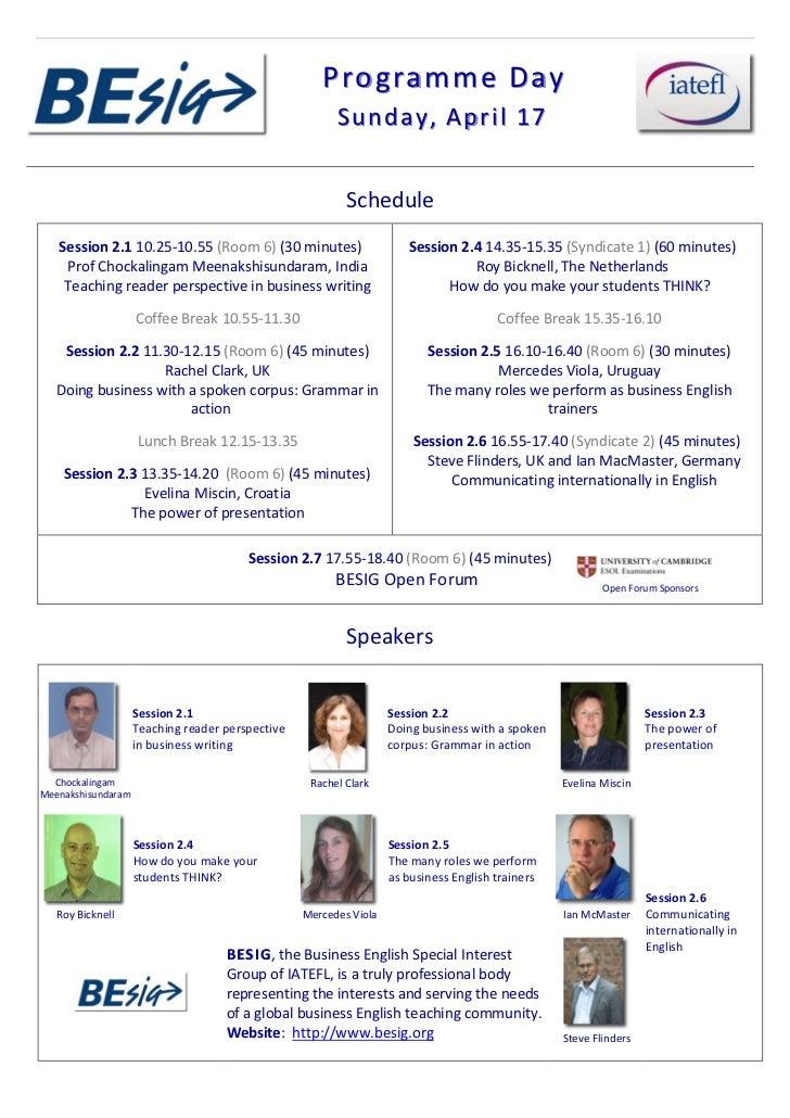 IATEFL BESIG Programme Day Schedule 2011