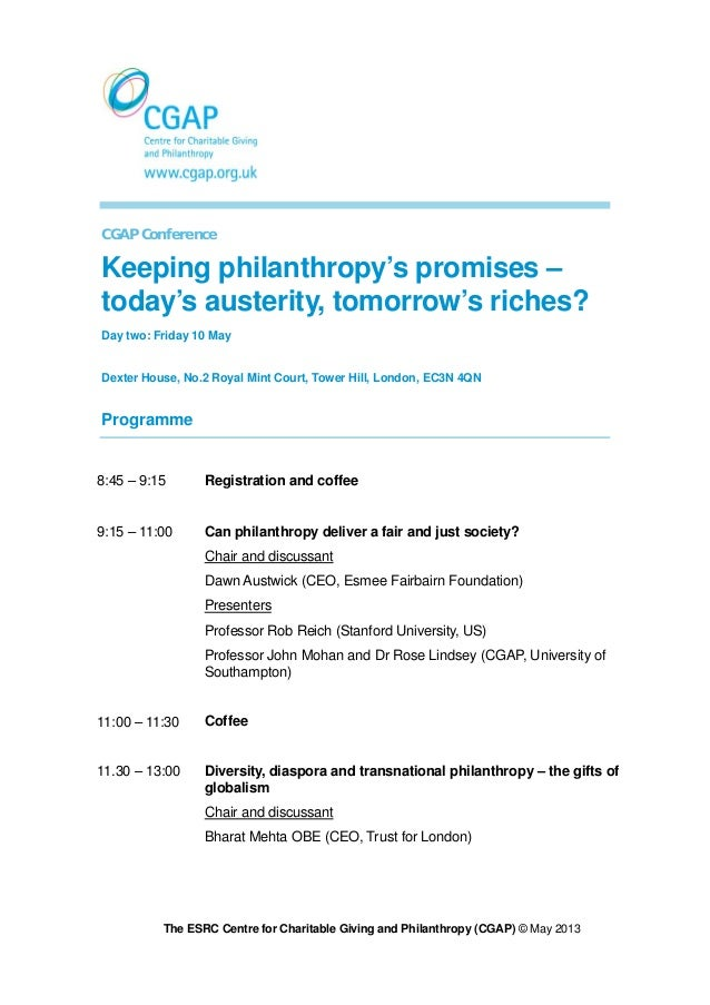 CGAP Conference programme Friday 10th May