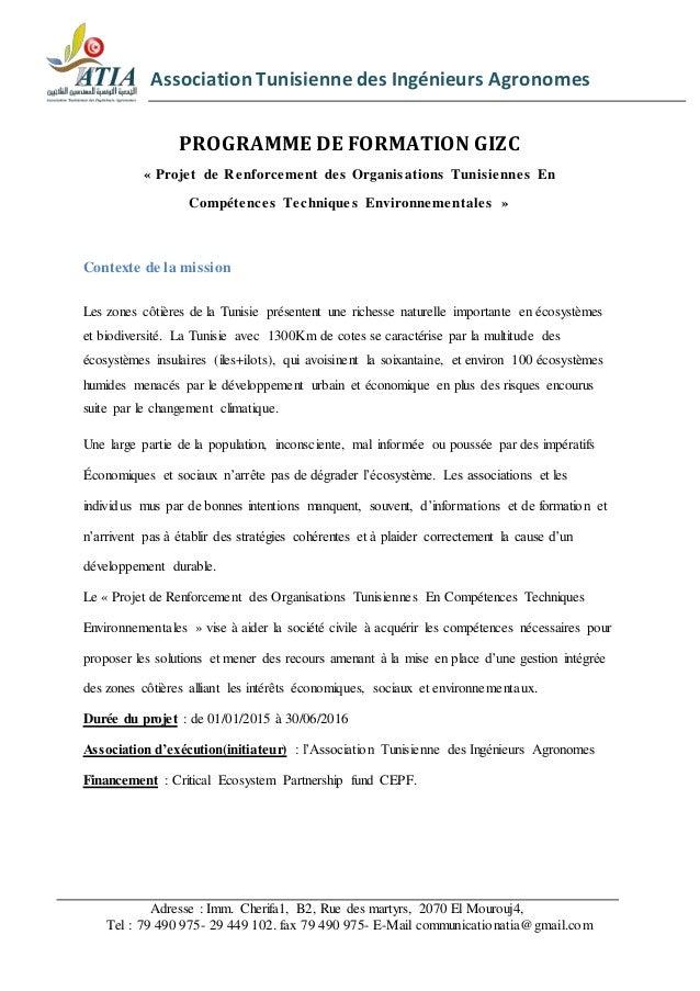 Association Tunisienne des Ingénieurs Agronomes  PROGRAMME DE FORMATION GIZC  « Proje t de Renforcement de s Organisations...