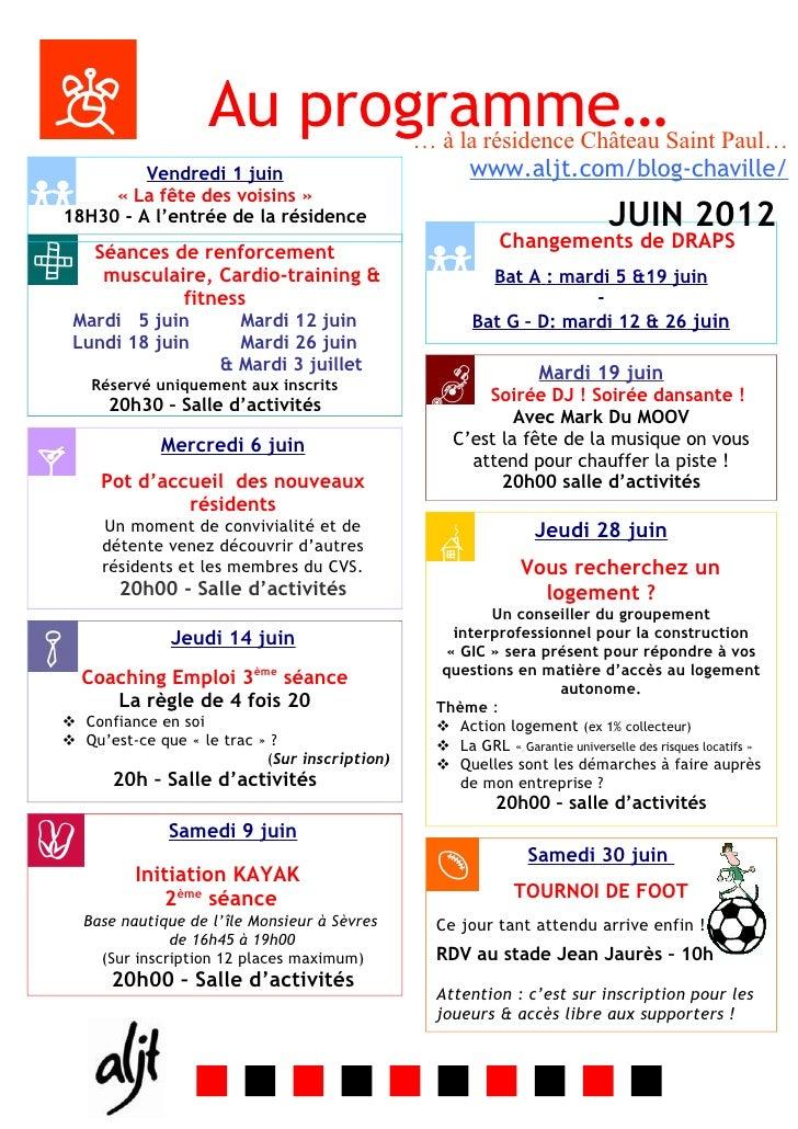Au programme…               … à la résidence Château Saint Paul…         Vendredi 1 juin                            www.al...