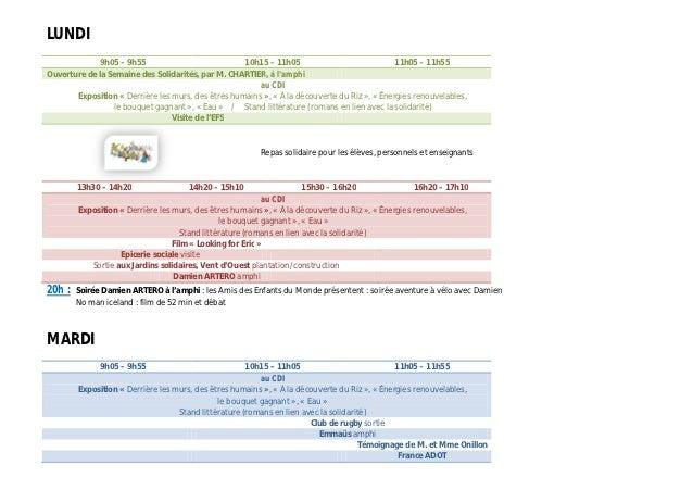 LUNDI             9h05 – 9h55                            10h15 – 11h05                             11h05 – 11h55Ouverture ...
