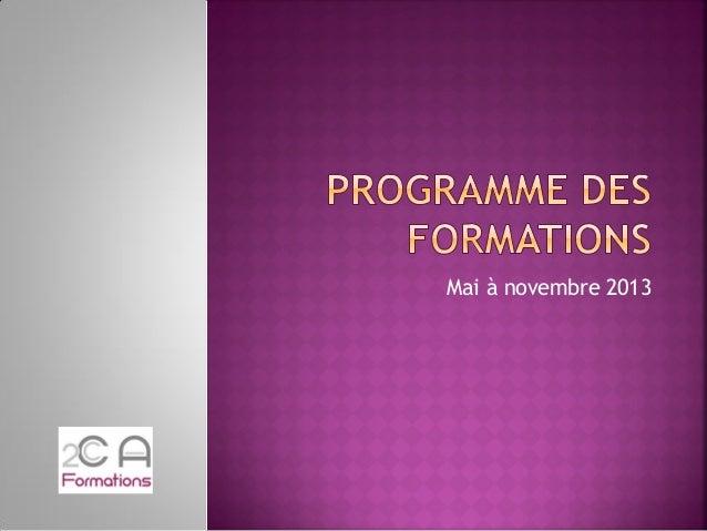 Programme des formations 2013