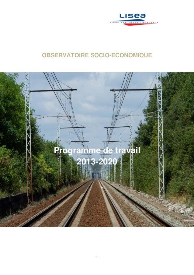 1   OBSERVATOIRE SOCIO-ECONOMIQUE Programme de travail 2013-2020