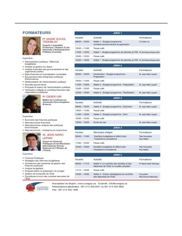 Seminaire: Comorendre et maitriser les budgets par programme: de la preparation au suivi et control