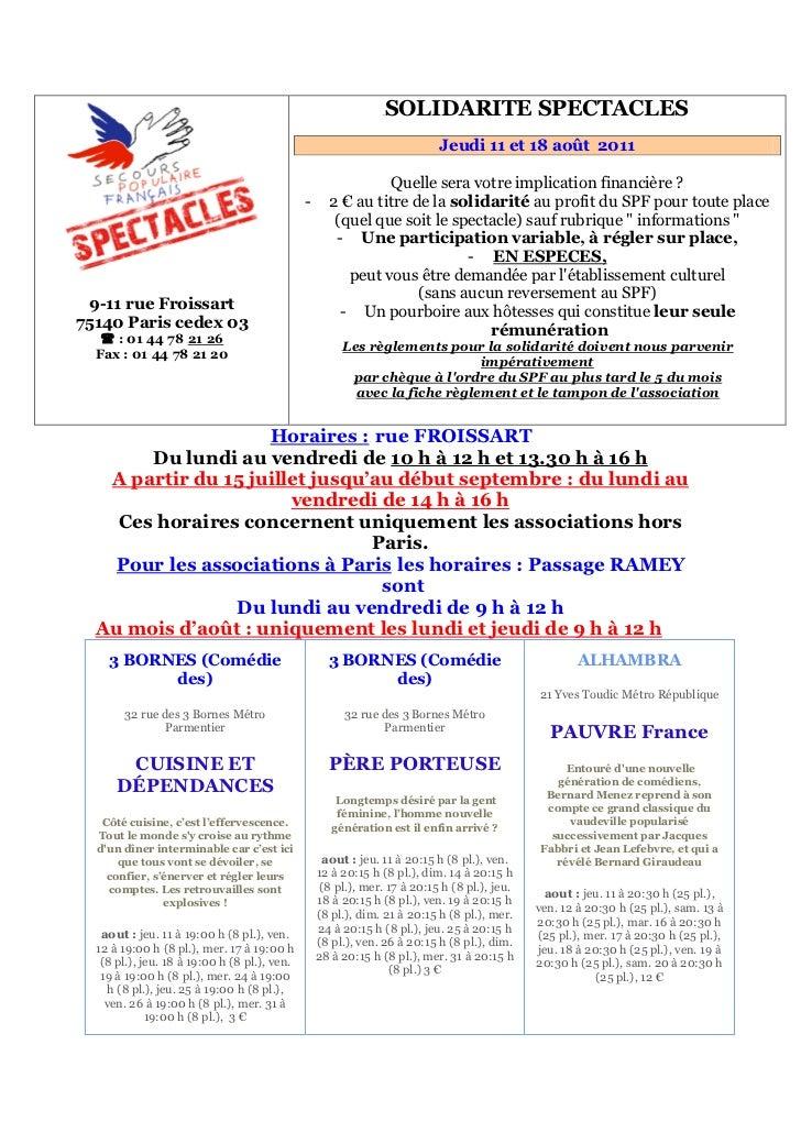 Programme du 11 et 18 août