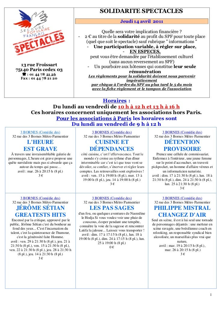 Programme du 14 avril