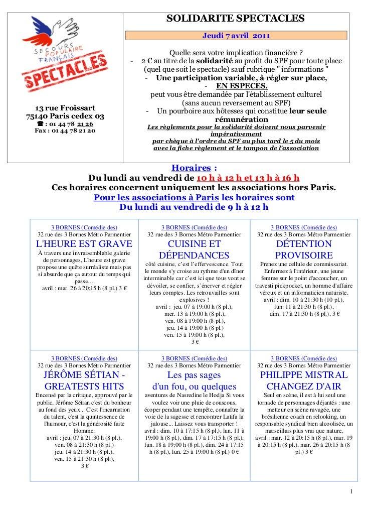 151B   SOLIDARITE SPECTACLES                                                                       Jeudi 7 avril 2011     ...