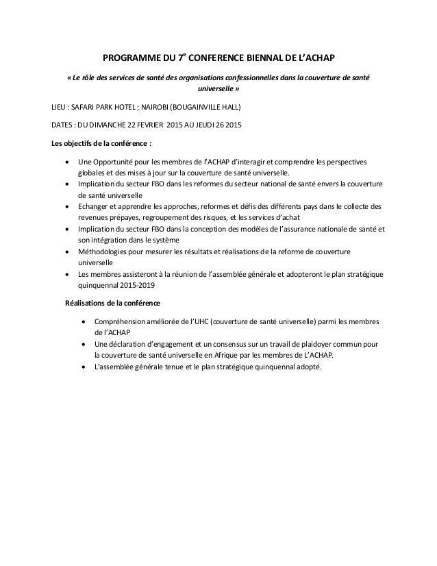 PROGRAMME DU 7e CONFERENCE BIENNAL DE L'ACHAP « Le rôle des services de santé des organisations confessionnelles dans la c...