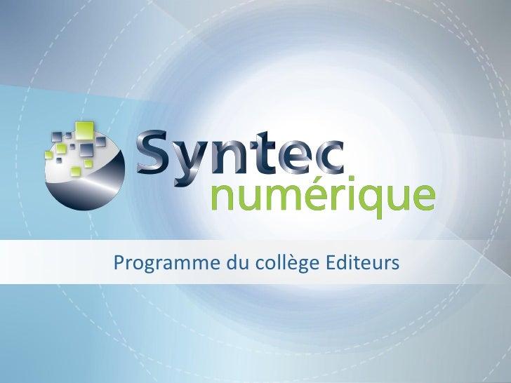 Programme du collège Editeurs