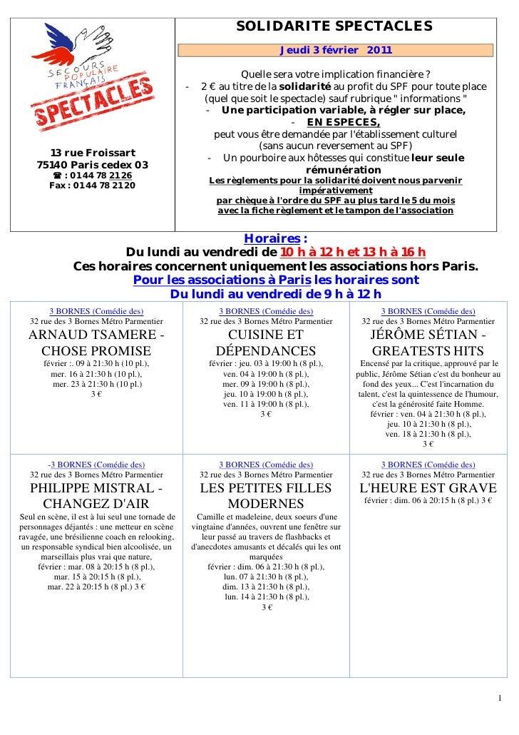 Programme du 3 février 2011