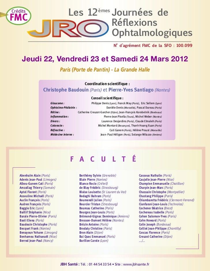 Les 12 èmes Journées de                                                     RéflexionsCréditsFMC                          ...