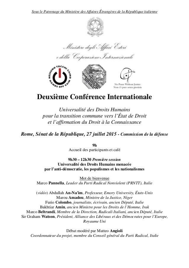Sous le Patronage du Ministère des Affaires Étrangères de la République italienne Deuxième Conférence Internationale Unive...