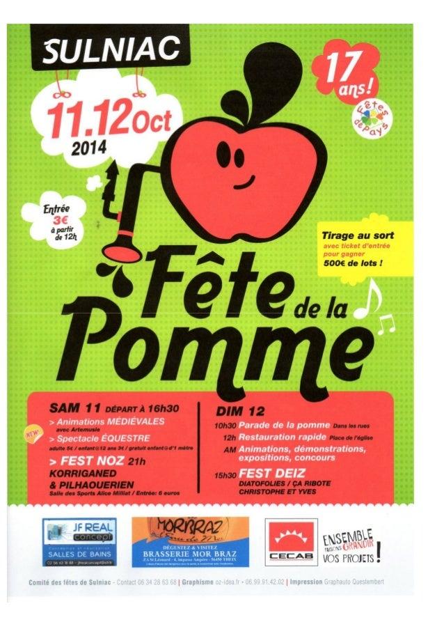 Programme fête de la pomme Sulniac 2014