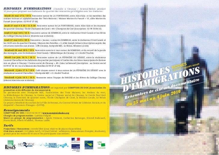HISTOIRES D'IMMIGRATIONS s'installe à Cleunay / Arsenal-Redon pendant10 jours pour proposer aux habitants du quartier des ...