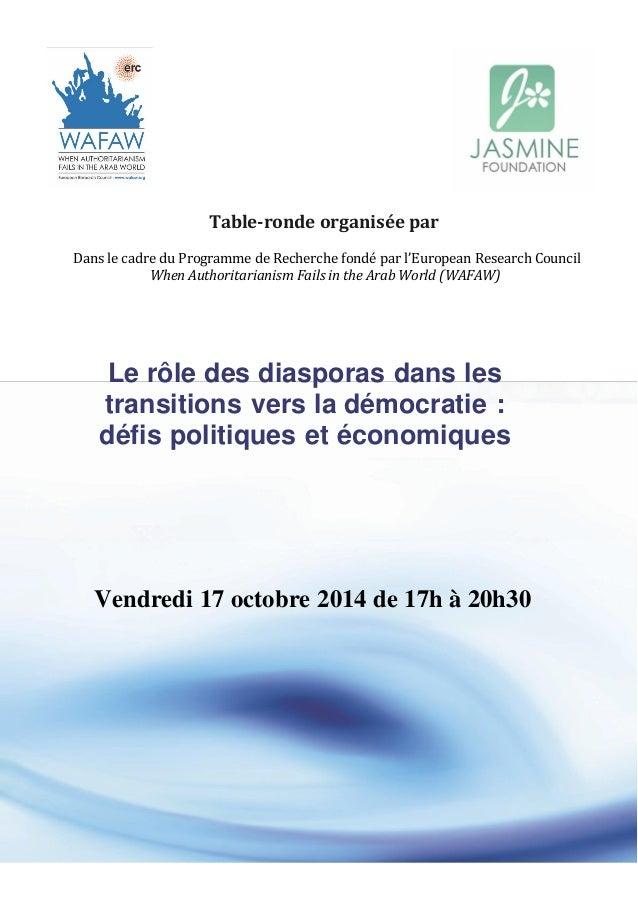 Table‐ronde organisée par  Dans le cadre du Programme de Recherche fondé par l'European Research Council  When Authoritari...