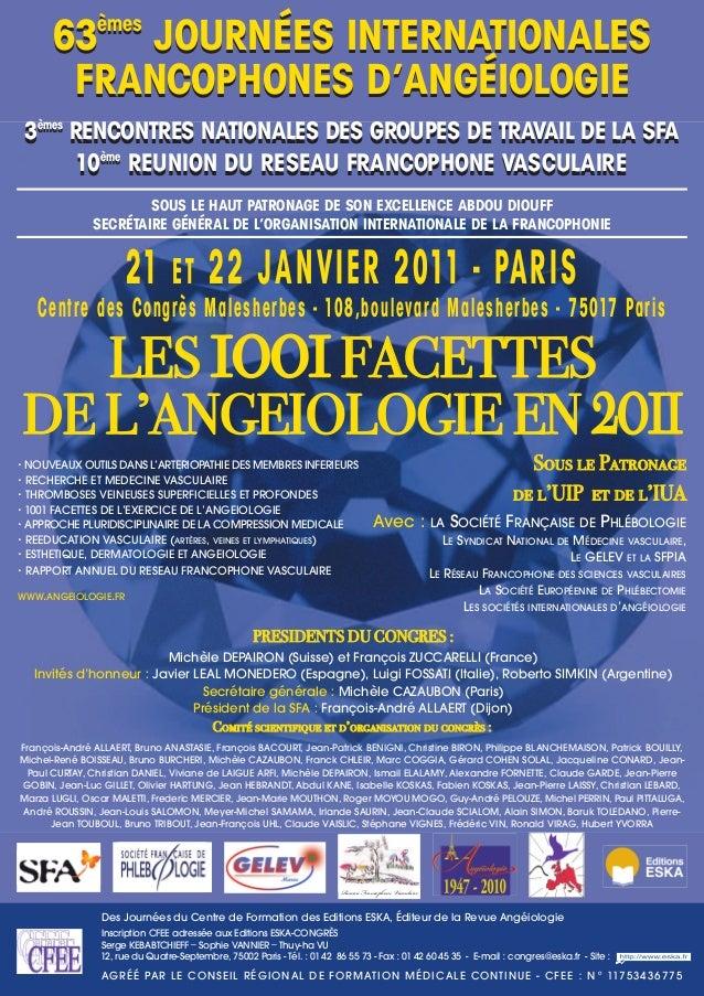 21 ET 22 JANVIER 2011 - PARIS Centre des Congrès Malesherbes - 108,boulevard Malesherbes - 75017 Paris Des Journées du Cen...